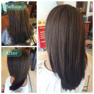 Keratin hair treatment - before and after